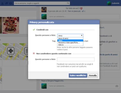 Facebook le impostazioni della privacy – Esempio