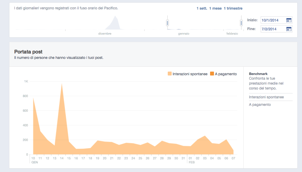 Pagina Facebook - Dati Insights